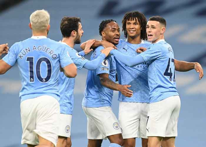 Liverpool vs Manchester City: Picture of Manchester City players